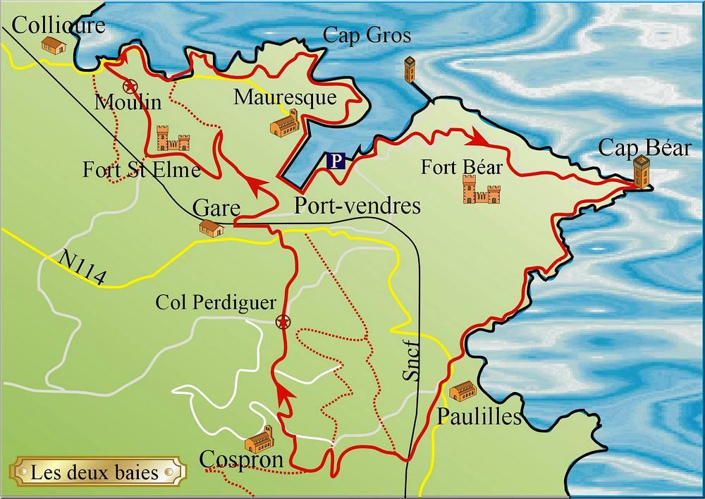Cote Vermeille Carte Touristique.Randonnees Sur La Cote Vermeille