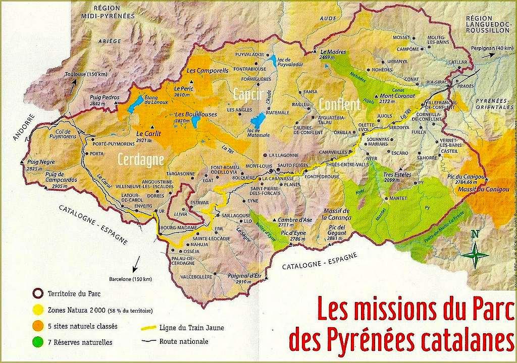 Parc des pyr n es catalanes carte de france voyages cartes - Les pyrenees catalanes ...