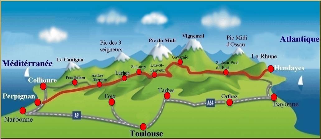 carte traversée des pyrénées à vélo La traversee des Pyrenees de la mediterranee à l'atlantique